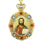 M-8-58 Christ the Teacher Jeweled Faberge Style Icon Pendant With Chain to Hang Gift Boxed