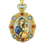M-8-61 Virgin Mary Eternal Bloom Jeweled Faberge Style Icon Pendant With Chain to Hang Gift Boxed