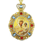 M-8-7 Virgin Mary of Jerusalem Jeweled Faberge Style Icon Pendant With Chain to Hang Gift Boxed
