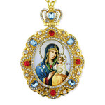 M-8-9 Virgin Mary of Eternal Bloom Jeweled Faberge Style Icon Pendant With Chain to Hang Gift Boxed