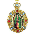 M-8-G Our Lady of Guadalupe Jeweled Faberge Style Icon Pendant With Chain to Hang Gift Boxed