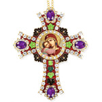 CR-4R-17 Jeweled Wall Icon Cross Ornament Virgin of Vladimir Enameled Room Wall Decoration 6""