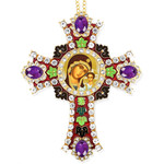 CR-4R-19 Jeweled Wall Icon Cross Virgin of Kazan Enameled Room Wall Decoration 6""