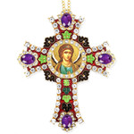CR-4R-48 Jeweled Wall Icon Cross St Michael Enameled Room Wall Decoration 6""