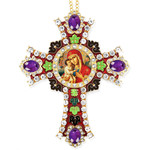 CR-4R-5 Jeweled Wall Icon Cross Virgin & Child Enameled Room Wall Decoration 6""