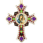 CR-4R-9 Jeweled Wall Icon Cross Virgin of Eternal Bloom Enameled Room Wall Decoration 6""