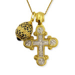 EC-8-176B Set of 3 Sterling SIlver 925 Gold Plated Cross With Sterling Silver 925 Gold Plated Egg & Chain