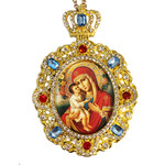 M-8-5 Virgin Mary & Child Jeweled Faberge Style Icon Pendant With Chain to Hang Gift Boxed
