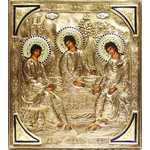 """MI-25 Old Testament Trinity Hand Painted Hand Crafted Silver / Gold Plated Copper, Silver, & Enamel. Top quality, unique design. 14""""x12"""""""