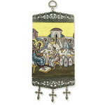 "TMT90 Marriage at Cana  Icon Banner Tapestry Textile Art 9 3/4""x3 7/8"""