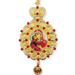 M-10-1 Madonna & Child Icon Pendant NEW!!! Jeweled Red Stones Crown !!