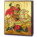 "TMS604A St George Icon Magnet Greek Serigraph 2 1/4""x2"""