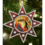 M-6R-63 Christmas Ornament Nativity of Christ Star of Bethlehem Faberge Style Framed Icon Pendant NEW!!!!