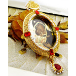 M-9-10 Virgin Of Vladimir Icon Pendant Ornament With Pearls New !! Room Car Tree Decoration