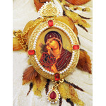 M-9-41 Virgin of Don Madonna & Child Icon Pendant Ornament With Pearls New !! Room Car Tree Decoration