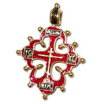 """AD-34R Old Believers """"Lobed"""" Cross  Sterling Silver Gold Plated Enameled ! Hallmarked Save Us on Back Side"""