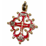 "AD-34R Old Believers ""Lobed"" Cross  Sterling Silver Gold Plated Enameled ! Hallmarked Save Us on Back Side"