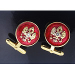 Cuf-1 Cufflinks Double Headed Eagle Sterling Silver Gold Gild & Enameled