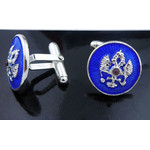 Cuf-1BS  Cufflinks Double Headed Eagle Sterling Silver & Enameled