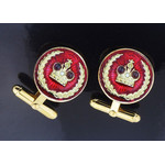 "Cuf-2 Cuff links ""Crown"" Sterling Silver Gold Gild & Enameled"