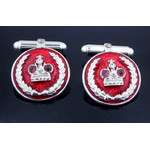 "Cuf-2S Cuff links ""Crown"" Sterling Silver & Enameled Hallmarked 925"