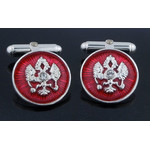 Cuf-1RS  Cufflinks Double Headed Eagle Sterling Silver Gold Gild & Enameled
