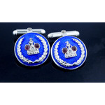 Cuf-2BS  Romanov Crown Sterling Silver and Gullioche Enamel Cufflinks