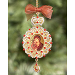 M-10-41  Virgin of Don Icon Pendant NEW!!! Jeweled Red Stones Crown !!