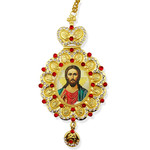 M-10-15 Christ The Teacher Icon Pendant NEW!!! Jeweled Red Stones Crown !!