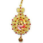 M-10-17 Virgin of Vladimir Icon Pendant NEW!!! Jeweled Red Stones Crown !!