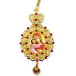 M-10-17 Virgin of Vladimir Icon Pendant NEW!!! Jeweled Red Stones Crown !!
