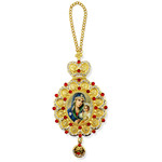 M-10-61 Virgin of Eternal Bloom  Icon Pendant NEW!!! Jeweled Red Stones Crown !!
