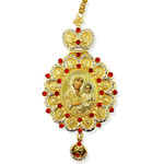 M-10-7 Virgin Mary of Jerusalem Jeweled Faberge Style Icon Pendant With Chain to Hang Gift Boxed