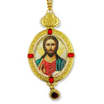 M-9-15 Christ The Teacher Icon Pendant Ornament With Pearls New !! Room Car Tree Decoration