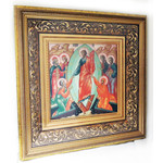 """PB-5 Resurrection of Christ Hand Painted Icon Mother of Pearl Gold Wooden Frame NEW !! 14"""""""