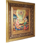 """PB-6 Resurrection of Christ icon Mother of Pearl hand Painted Gold Frame Glass NEW ONE OF A KIND! 17""""X15"""""""