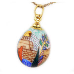 "S1040-1 ""Jerusalem"" Porcelain Hand Painted Egg With Gold Highlights & Sterling Silver Bail"