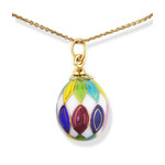 S1040-3  Porcelain Hand Painted Egg With Gold Highlights & Sterling Silver Bail. NEW!!