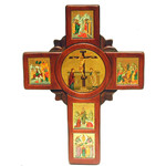 """TE406W Large Serigraph Wooden Wall Icon Cross Wood 14 1/2""""x10 3/4"""""""