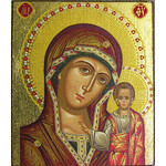 "TMS155 Virgin of Kazan Magnet Serigraph Greek Icon 2 1/4""x2"""
