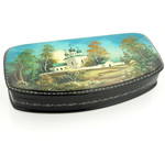 "500-40C Russian Papier Mache Lacquer Box Hand Painted Box Assorted Scenes Mother of Pearl NEW!! HIGH QUALITY 6 1/2""x3"""