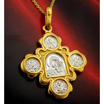 EC-50 Sterling Silver 925 22 kt Gold Plated Icon Medal Virgin Of Kazan Christ, Dove Peter Paul Saints Chain 18""