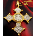 "EC-58 Christ Almighty Virgin Mary St Seraphim Angel Reversible Cross Sterling Silver 925 22 kt Gold Gilding 2"" W Silver Gold P Chain 20"""