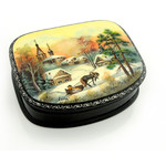 "500-40A Russian Papier Mache Lacquer Box Hand Painted Box Assorted Scenes Mother of Pearl NEW!! HIGH QULITY 4""x3 1/16"""