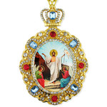 M-8-R Resurrection Of Christ Icon Pendant Jeweled Frame NEW!!!