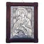 """A53-2 Virgin Of Vladimir Icon Silver Plated 999 in Oak Wood Decorated W Swarovski Crystals NEW w Certificate  8 3/4""""x6 3/4"""""""