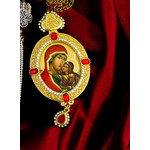M-9-A Saint Ann Madonna & Child  Framed Icon Pendant With Chain & Pearls  NEW