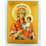"DIB-SC Virgin Of Smolensk Crowned Decoupage Icon Box NEW!! 2 5/8""x2"""