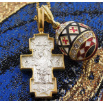 EC-188-8744  Reversible Set of 3  Cross Crucifixion On the Other Side & Nursing Mother of God  Egg Pendant & Chain, Sterling Silver 925 Gold Gilded 18kt Gold NEW