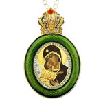 M-13G-10 Virgin Mary of Vladimir Green Faberge Style Icon Pendant W Crown & Chain To Hang, Wall Room Car Christmas Tree Decoration Gift! NEW!!